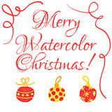 Christmas watercolor greeting card Stock Image