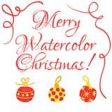 Christmas watercolor greeting card Stock Image