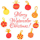 Christmas watercolor greeting card Stock Images