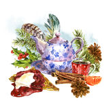 Christmas watercolor greeting card with sweet. Watercolor greeting card with sweet dessert, teapot, cup of tea, fir branches, tangerines, pine cones, cinnamon Royalty Free Stock Image