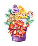 Christmas watercolor illustration of a box with sweet presents a royalty free stock photos