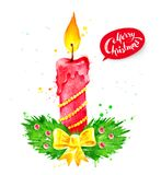 Christmas watercolor illustration of candle Stock Photos