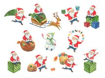 Christmas watercolor illustration set. Santa Claus and new year characters in different poses. Santa is riding a sleigh