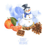 Christmas Watercolor New Year card with Snowman Stock Photography