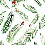 Christmas watercolor pattern of fir branches on a background. Hand drawn illustation. Christmas watercolor pattern of fir branches on a background Royalty Free Stock Photo