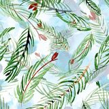 Christmas watercolor pattern of fir branches on a background. Hand drawn illustation. Christmas watercolor pattern of fir branches on a background Royalty Free Stock Images