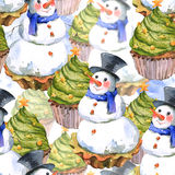 Christmas Watercolor Seamless Background Stock Image