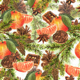 Christmas Watercolor Seamless Background. With Sprig of Fir Trees, Cinnamon, Cookies, Oranges and Pine cones Stock Image