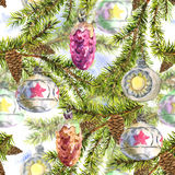 Christmas Watercolor Seamless Background. With Sprig of Fir Trees and Vintage Christmas balls, watercolor illustration Royalty Free Stock Image