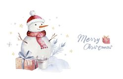 Christmas watercolor set of elements. Winter isolated illustration. Holiday design with snowman.New year greeting card royalty free stock photos
