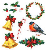 Christmas watercolor set with holly, red winter bird bullfinch,wreath, golden bells and candy cane Stock Photo