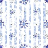 Christmas watercolor snowflakes background. Blue snowflakes isolated on white strip background. Christmas watercolor snowflakes background. Decorative Snowflakes stock illustration