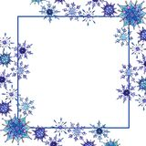 Christmas watercolor snowflakes background with place for your text. Christmas watercolor snowflakes background. Decorative Snowflakes seamless watercolors stock illustration
