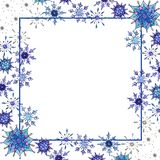 Christmas watercolor snowflakes background template. Christmas watercolor snowflakes background. Decorative Snowflakes seamless watercolors pattern, winter theme royalty free illustration