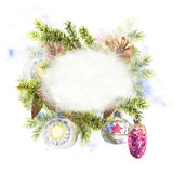Christmas Watercolor with Sprig of Fir Trees Royalty Free Stock Photography