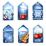 Christmas watercolor tags Stock Images