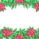 Christmas watercolor template with colored leaves royalty free stock photos