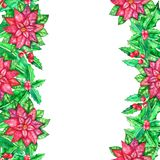 Christmas watercolor template with colored leaves royalty free stock images