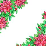 Christmas watercolor template with colored leaves stock photo