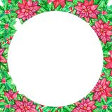 Christmas watercolor template with colored leaves stock photos