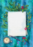 Christmas Watercolor Top View Background Royalty Free Stock Images