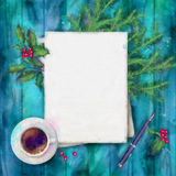 Christmas Watercolor Top View Background Royalty Free Stock Photography