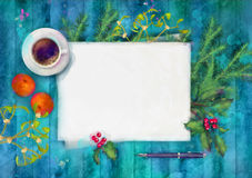 Christmas Watercolor Top View Background Stock Image