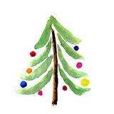 Christmas watercolor tree card Stock Images