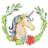 Christmas Watercolor Unicorn With Floral Wreaths Royalty Free Stock Image