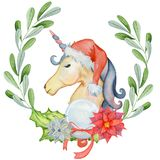 Christmas Watercolor Unicorn With Floral Wreaths And Santa Hat Stock Photography