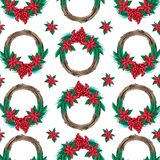 Christmas watercolor wreath seamless pattern. Hand-drawn illustration. Design for textile printing, wrapping paper