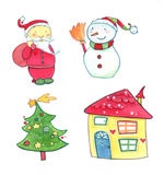 Christmas watercolors icons. Christmas icons set, isolated on a white background. Watercolors and pastels illustration Stock Photography