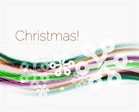 Christmas wave abstract background. Curve line with snowflakes Stock Photography