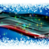 Christmas wave design with snowflakes and glowing  Stock Images