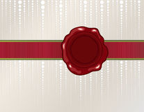 Christmas wax seal. With silk ribbon on shiny background Royalty Free Stock Image