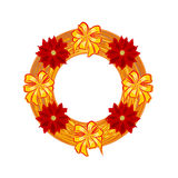 Christmas wearing straw wreath with poinsettia vector Royalty Free Stock Photography