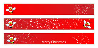 Christmas web banner with a bee. Christmas web banner for kids with a Santa Claus Bee. Label useful Stock Image