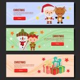 Christmas web banner set santa claus elf. Cute christmas web banner set santa claus elf royalty free illustration