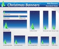 Christmas web banners. Christmas banner with snow, standard sizes Stock Photos