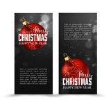 Christmas web banners set with red and gold ball  sparcle blurred background. Stock Images