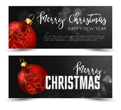Christmas web banners set with red and gold ball  sparcle blurred background. Royalty Free Stock Photography