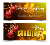 Christmas web banners set with red and gold ball  sparkle blurred background. Royalty Free Stock Photos
