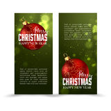 Christmas web banners set with red and gold ball  sparkle blurred background. Royalty Free Stock Photography