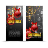 Christmas web banners set with red and gold ball  sparkle blurred background. Royalty Free Stock Images