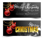 Christmas web banners set with red and gold ball  sparkle blurred background. Royalty Free Stock Image