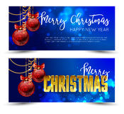 Christmas web banners set with red and gold ball  sparkle blurred background. Stock Photos