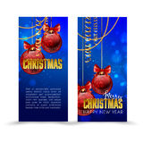 Christmas web banners set with red and gold ball  sparkle blurred background. Stock Photography