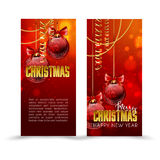 Christmas web banners set with red and gold ball  sparkle blurred background. Royalty Free Stock Photo
