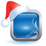 Christmas web button. With santa cap Royalty Free Stock Photography