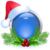 Christmas web button. With santa cap Royalty Free Stock Images